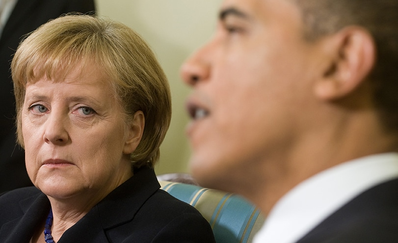 German Chancellor Angela Merkel meets with President Obama in the White House in 2009. (SAUL LOEB/AFP/Getty Images)