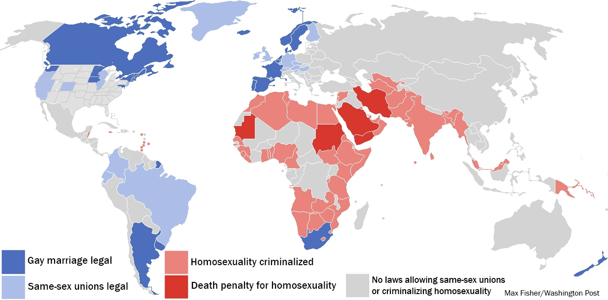 An updated map or laws banning homosexuality or allowing gay marriage. India just added itself. (Max Fisher/Washington Post)