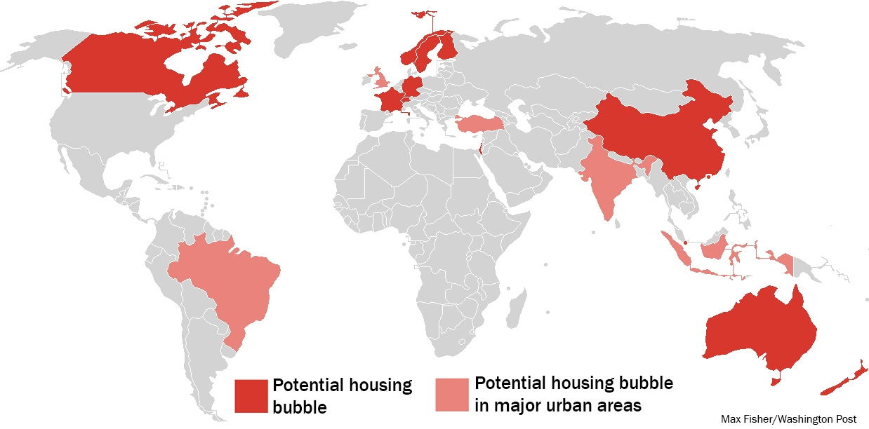 The 17 countries identified as having potential housing bubbles. Click to enlarge. (Washington Post)