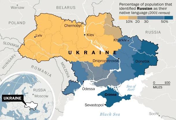 Κατανομή της ουκρανικής και της ρωσικής γλώσσας στην Ουκρανία. Πηγή: απογραφή 2001. (Laris Karklis/Washington Post)