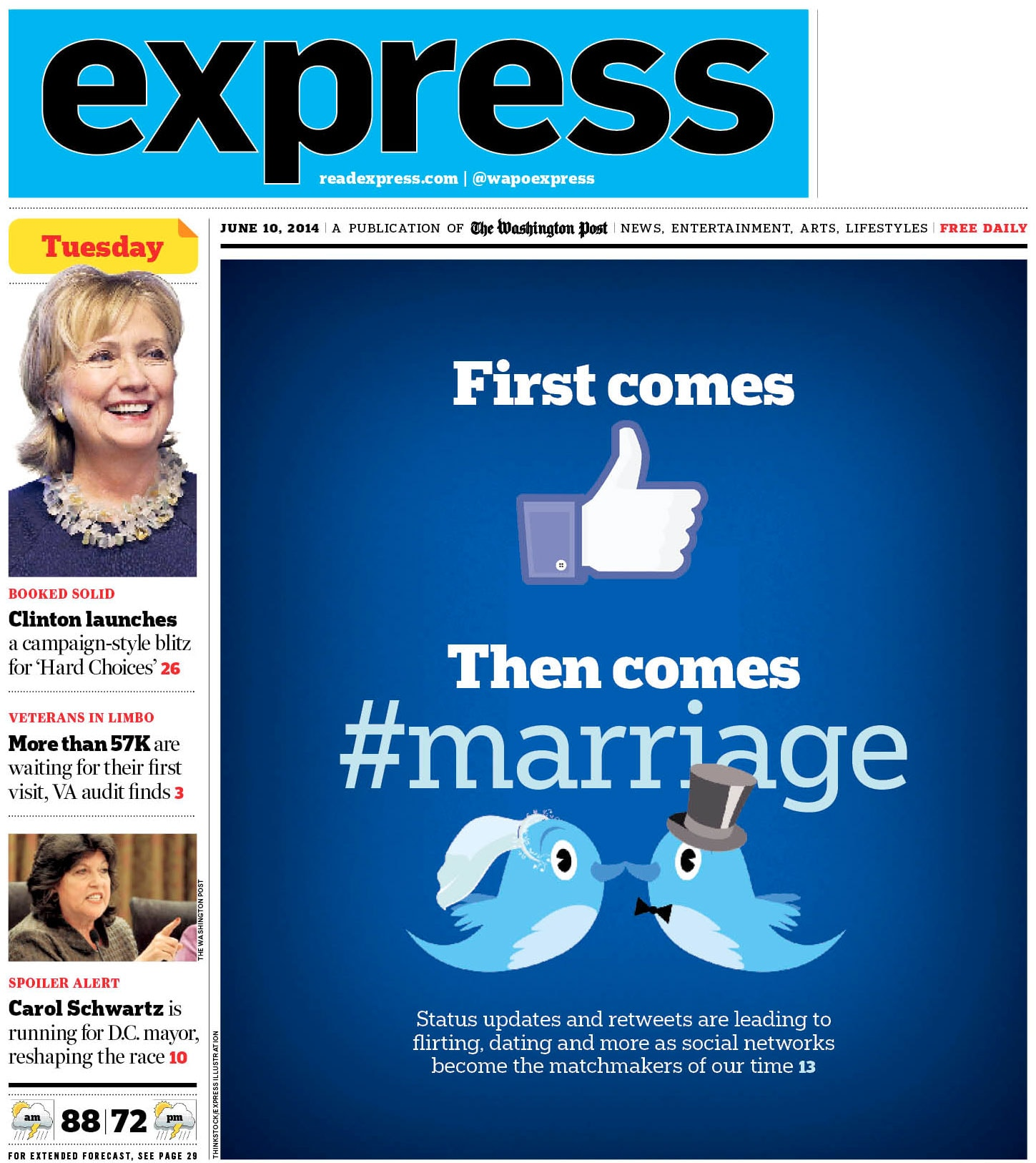 front page of the Washington Express with Twitter lovebirds