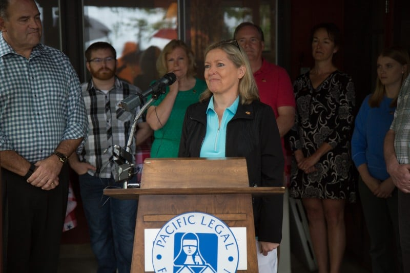 Donna Murr speaks at a  press conference at the Murr family's cabin on the St. Croix River. The Murr family are the plaintiffs in Murr v. Wisconsin.