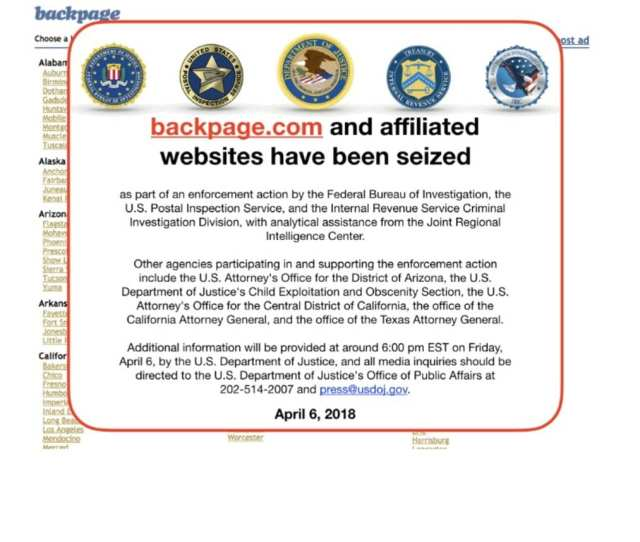Backpage Com Taken Offline As Part Of An Enforcement Action Federal Officials Say