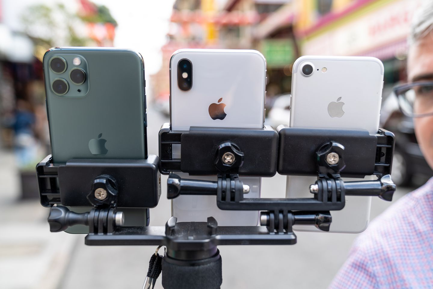 A three-way selfie stick, nicknamed the Triclops, helps The Post's Geoffrey A. Fowler test three camera phones at once. (James Pace-Cornsilk/The Washington Post)