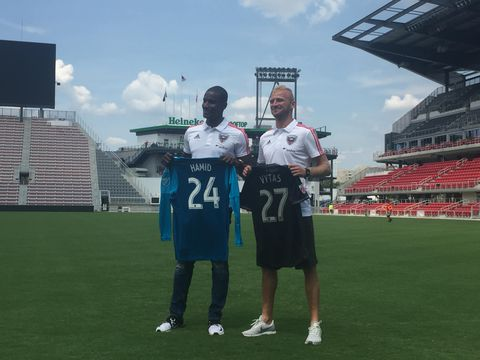 NRVRUYPKII2ZHOEYFTDZDDMR2I - 'I'm home': D.C. United introduces Hamid and Vytas