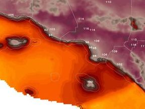HD Decor Images » Parts of Southern California witness hottest day ever recorded   The     Forecast of high temperatures from the National Weather Service around Los  Angeles on Friday   WeatherBell com