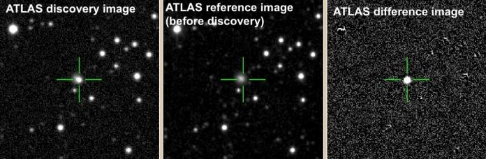 ATLAS telescopes before the explosion (middle) and after it (left) show the sudden brightening in the galaxy CGCG 137-068. The far-right image shows the difference between the two. (Stephen Smartt/ATLAS)