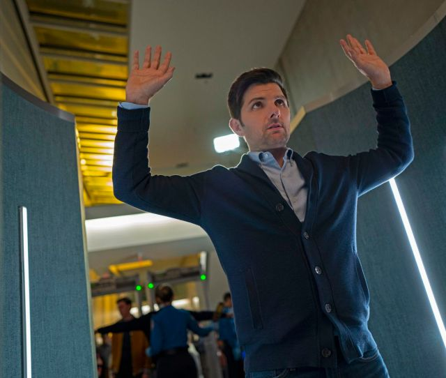 Adam Scott Plays Passenger Justin Sanderson In Nightmare At 30000 Feet An Early Episode From The New Cbs All Access Revival Series The Twilight Zone