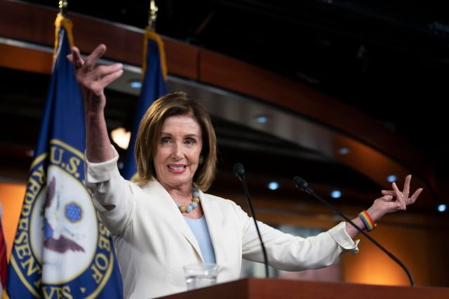 House Speaker Nancy Pelosi (D-Calif.) holds a news conference Wednesday on Capitol Hill. (J. Scott Applewhite/AP)