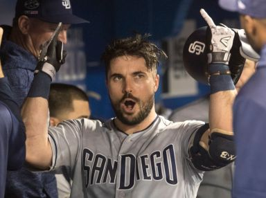 Hedges hits grand slam as Padres pound Blue Jays 19-4