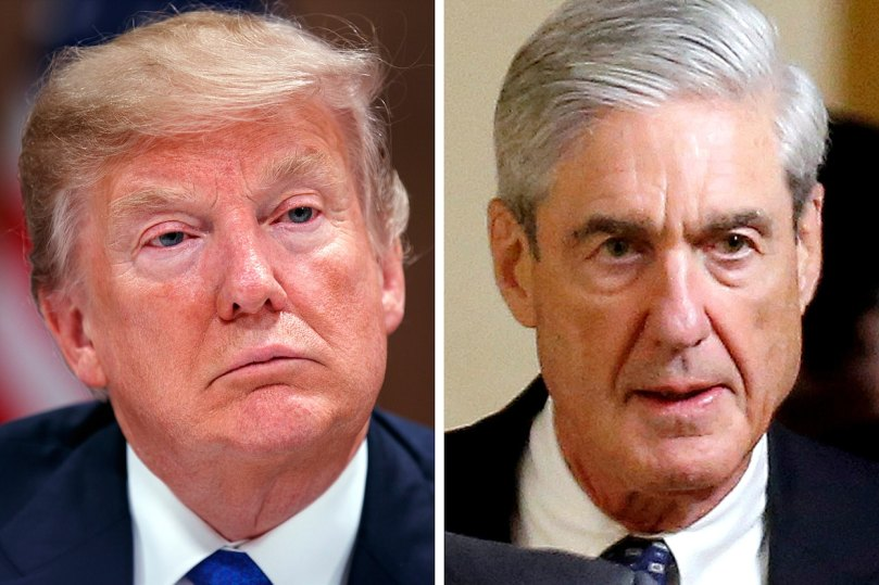 President Trump (Evan Vucci/Associated Press); Robert Mueller (Joshua Roberts/Reuters)