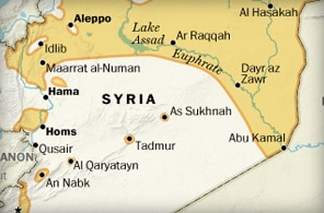 Areas in Syria with a rebel presence
