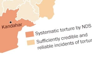 The ten provinces with multiple incidents of torture by Afghanistan's intelligence service the National Directorate of Security (NDS).