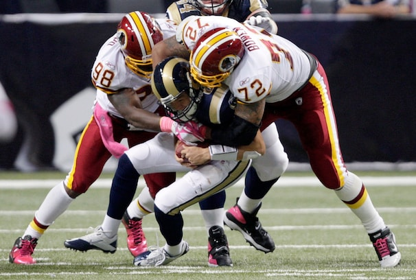 Brian Orakpo and Stephen Bowen sack the Rams Sam Bradford in 2011. After 11, 8.5 and 9 sacks his first three seasons, Orakpo got hurt in Week 2 last season, and hopes to tally up the sacks this year without compromising the rest of his game.