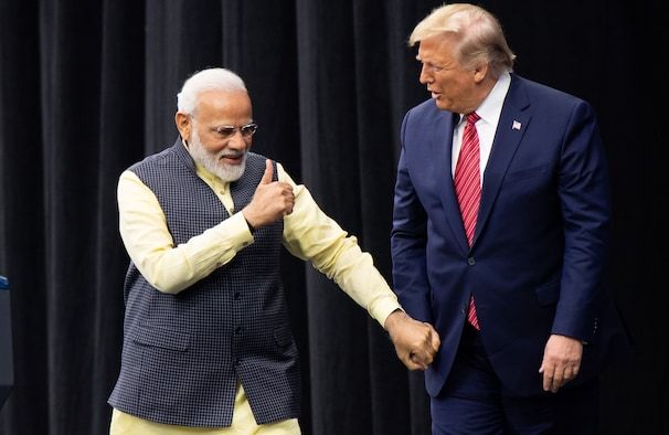 Trump plays unusual role of warm-up act at massive Modi rally in Houston