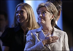 Hillary Clinton, shown here with her daughter, Chelsea, on Tuesday is set to praise her former rival Barack Obama tonight in Denver.