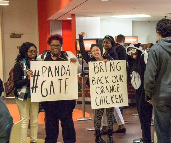 students protesting the loss of orange chicken