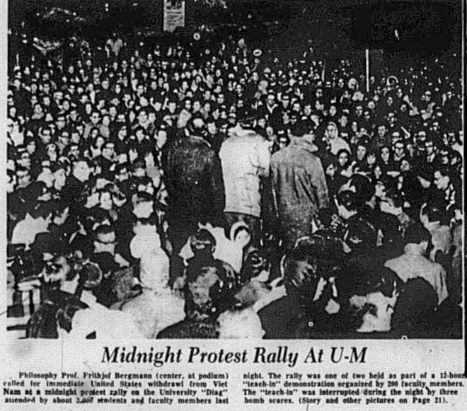 Midnight protest rally at U-M newspaper clipping