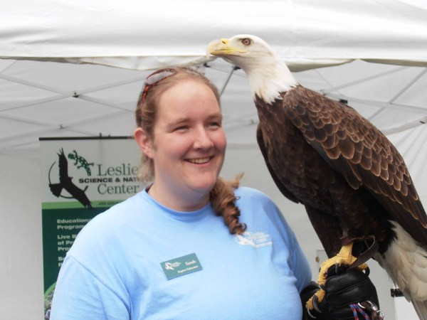 Sarah Gilmore of the Leslie Science and Nature Center presents a bald eagle