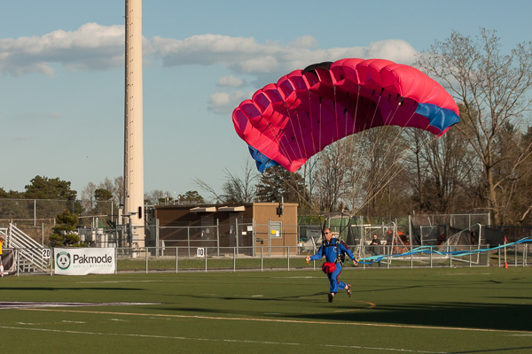 The game ball was delivered courtesy of Skydive Tecumseh at the AFC Ann Arbor season opener on Friday, May 1 at Hollway Field. EJ Stout | Washtenaw Voice