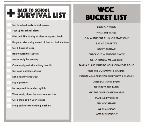 back to school survival list and WCC bucket list