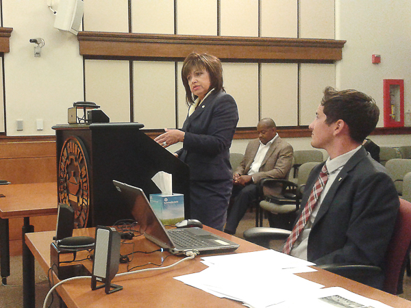 President Rose Bellanca speaks to the washtenaw county board of commissioners