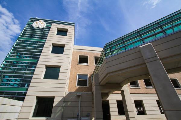 WCC's parking structure exterior - side