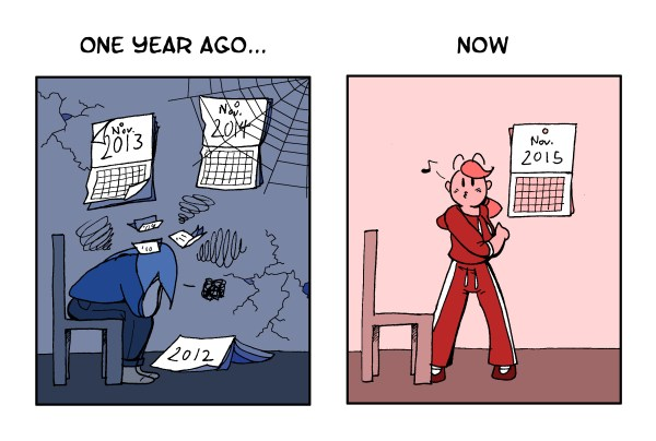 comic shows a depressed then energetic lady a year apart