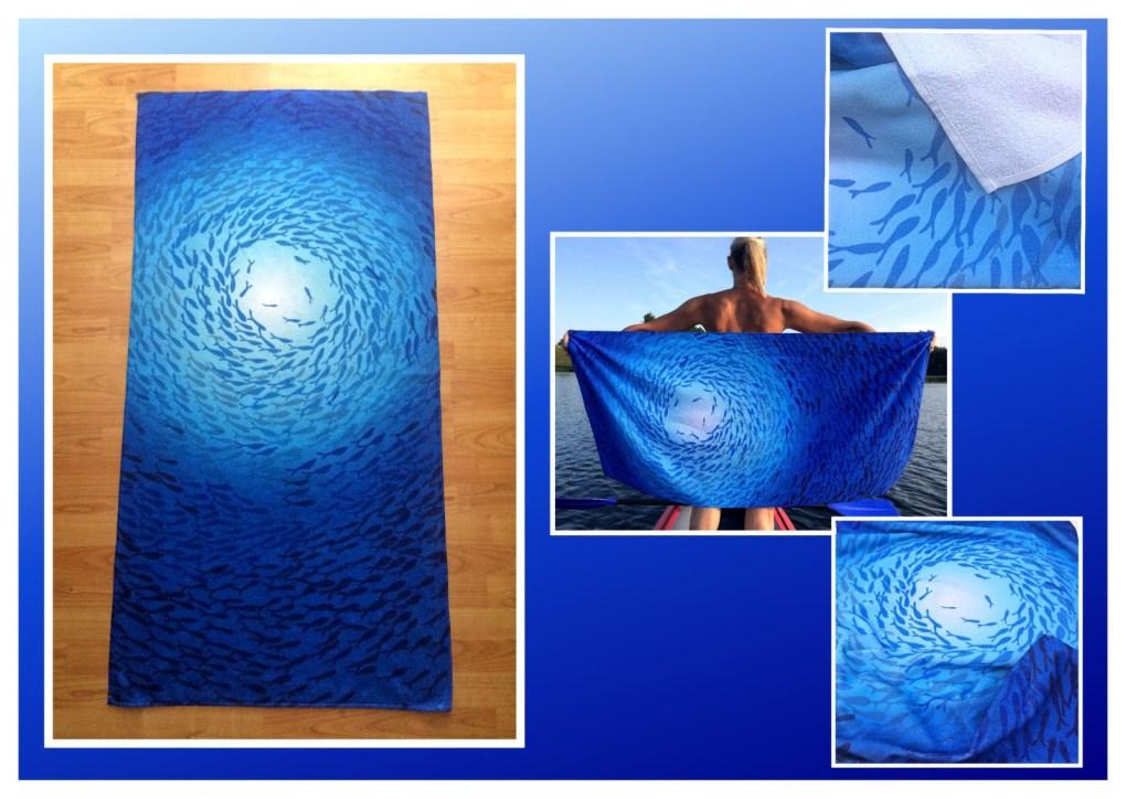 Badetuch Handtuch mit Fischschwarm