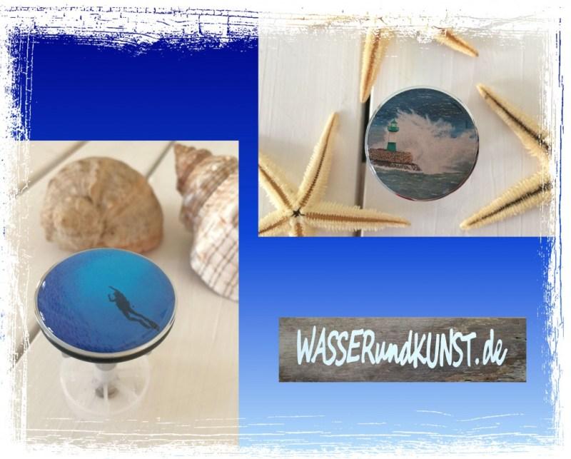 2 neue Waschbeckenstöpsel Taucher mit Fischschwarm und Leuchtturm Sassnitz