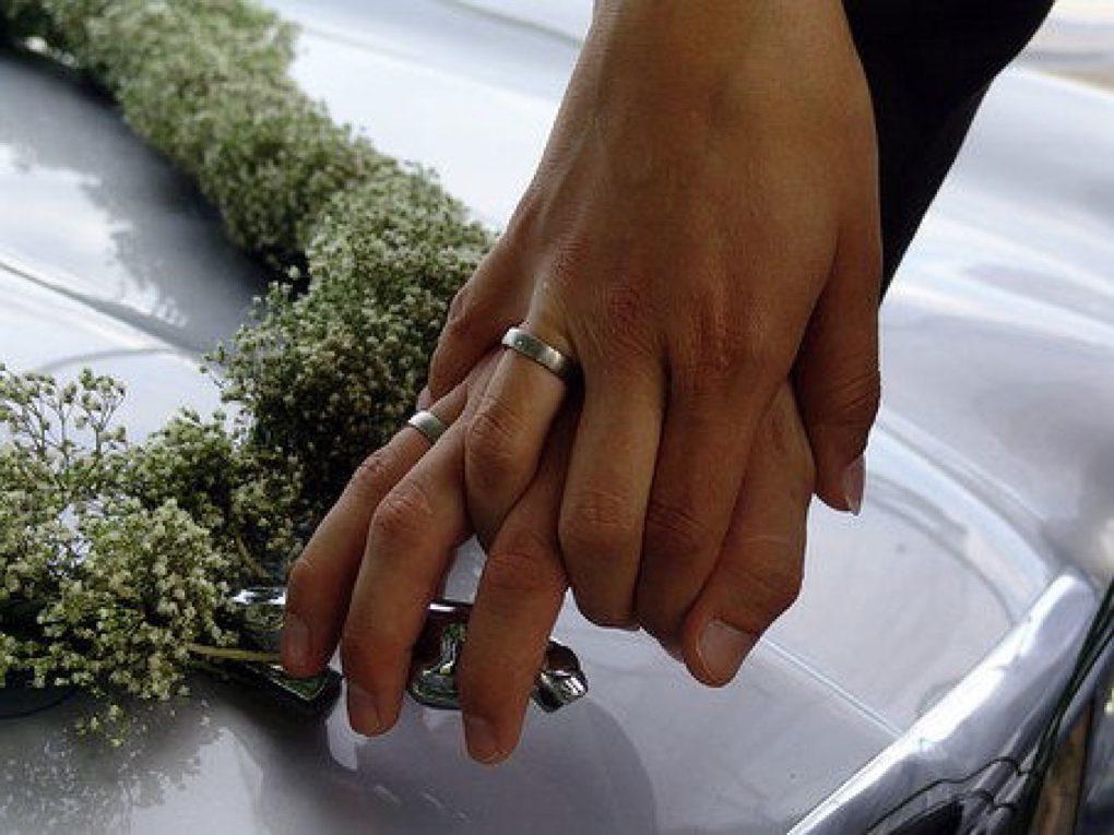 Bild Hochzeit Brautpaar mit Eheringen