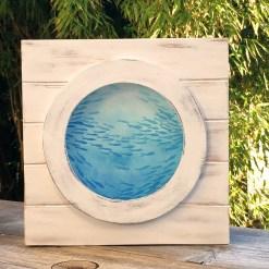 Fischschwarm im Bullauge, Bild Fische im Meer