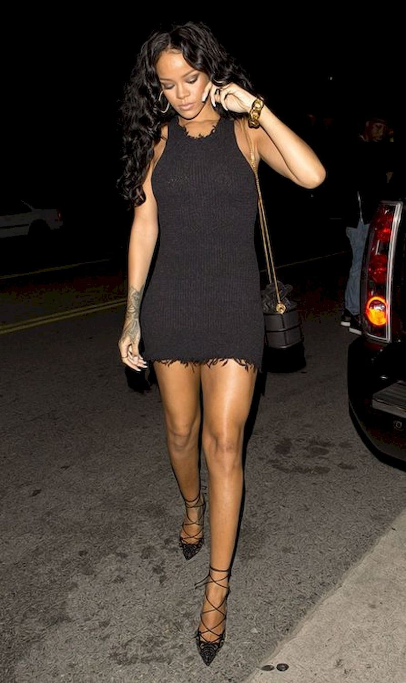 Casual clothes rihanna with black dress