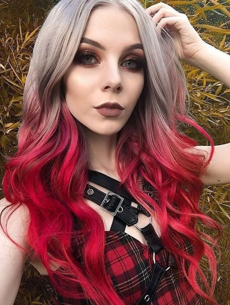 Spring hair for women with long grey and red color hair
