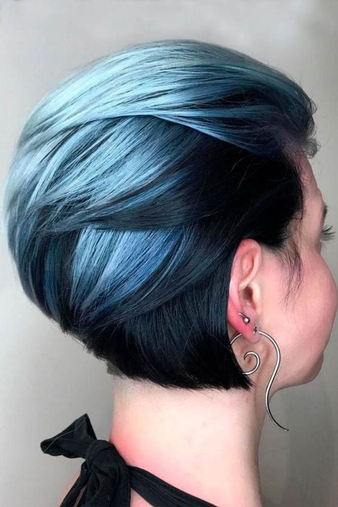 Straight short haircut styles with blue