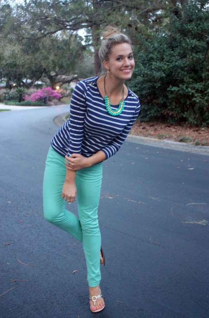 Spring outfit with green pant and striped top