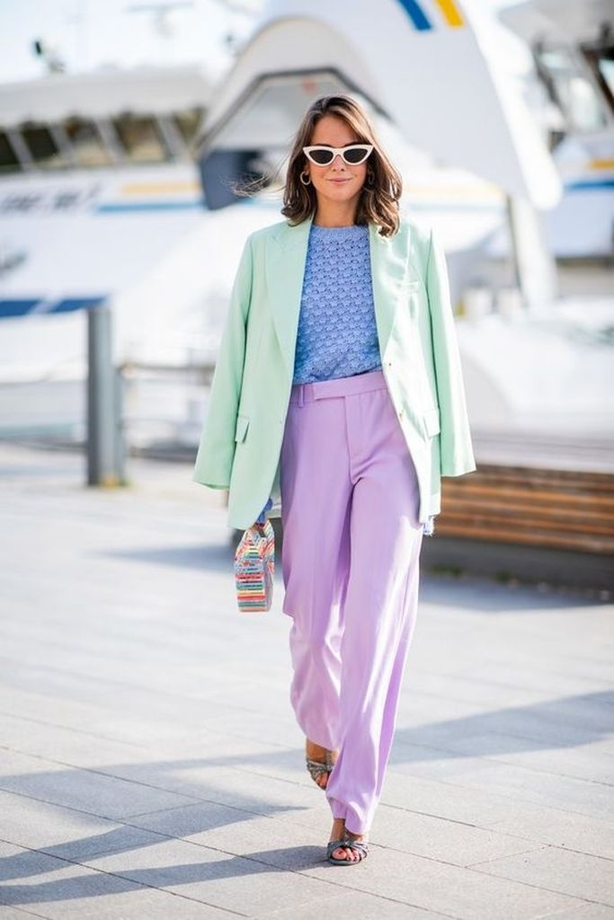 Spring outfit with green coat, purple pant and blue t-shirt