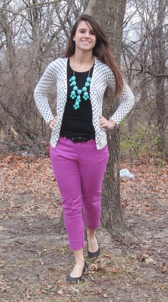 Spring outfit with purple pant