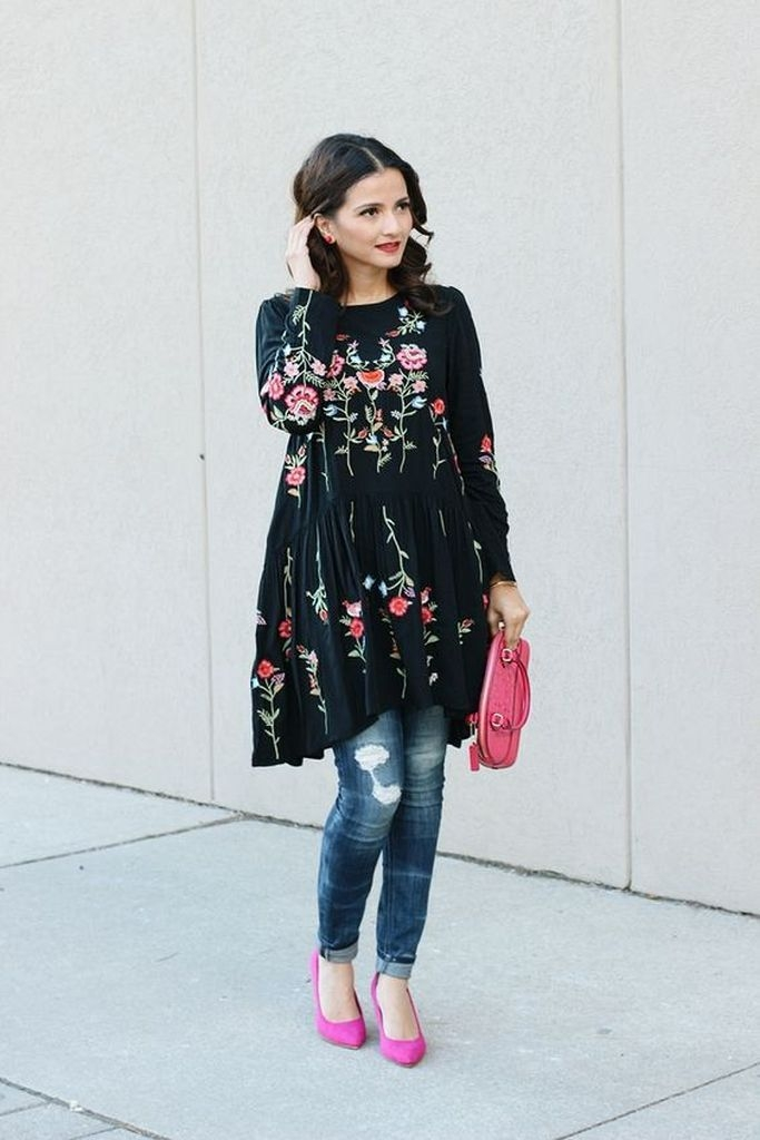 Embroidered flower dress for women with jeans