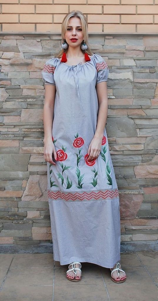 Grey maxi dress with sunflowers design