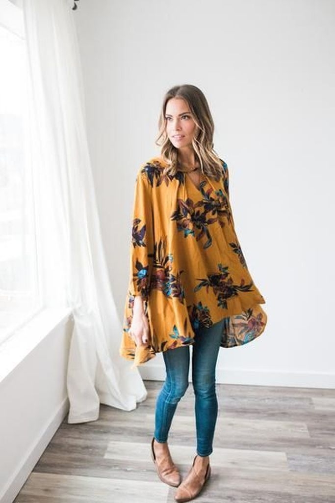 Embroidered flower yellow dress with jeans