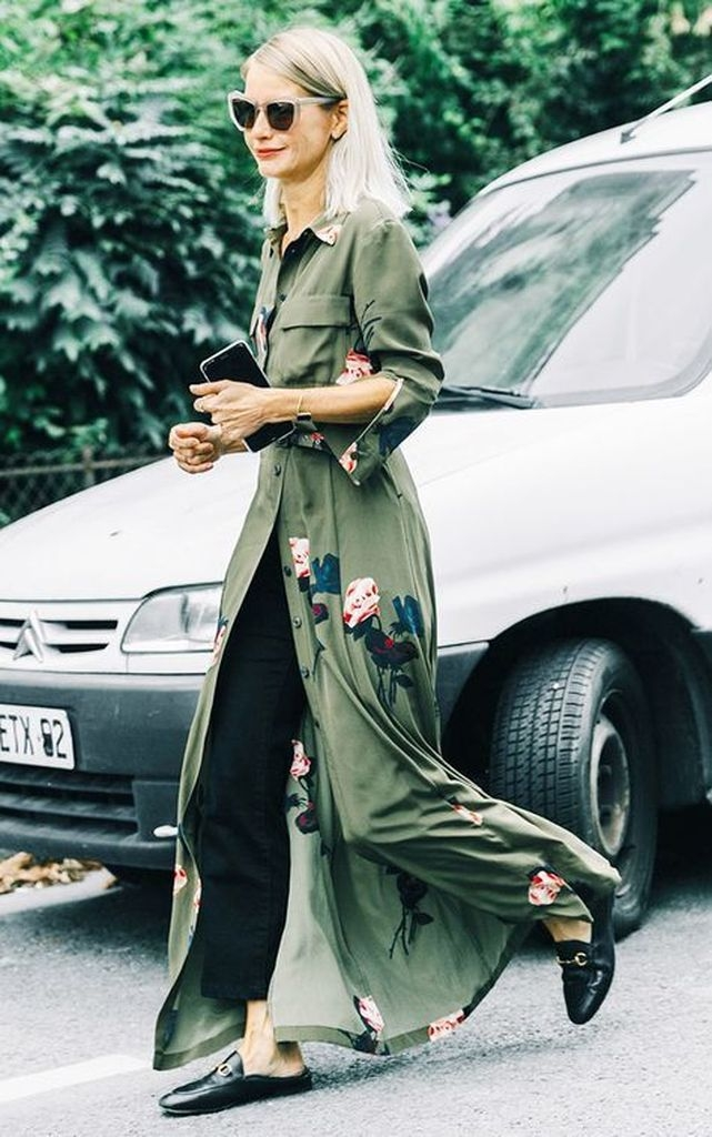 Green maxi dresses with black over trousers