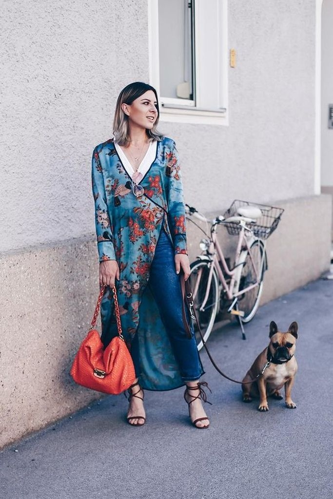 Long flower dress over jeans and high heel