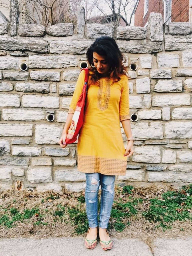 Embroidered yellow dresses with ripped jeans