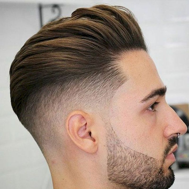 Haircuts for men with brushed back hair and thin beard