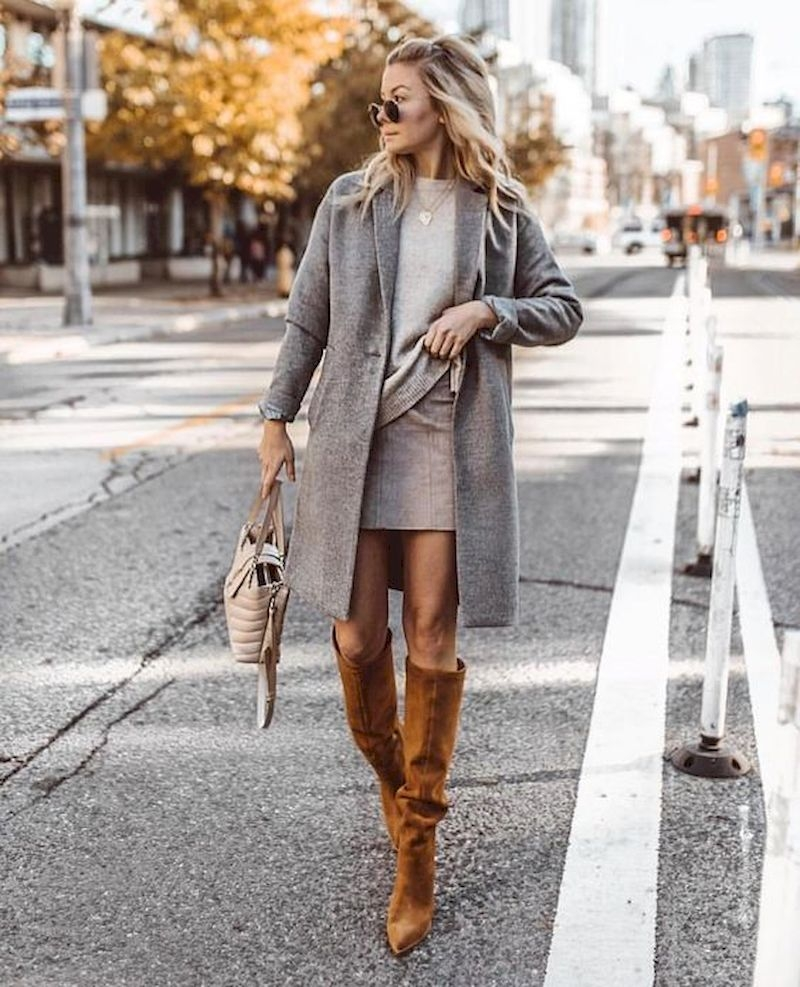 Spring outfit style with coat and knee boots