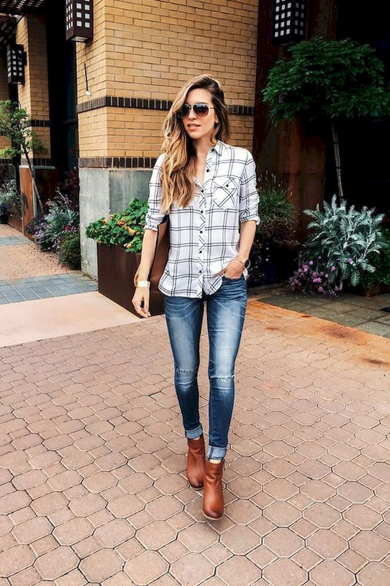 Plaid shirt outfits with brown ankle boots