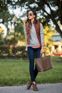 Women outfits with vest and leather ankle boots