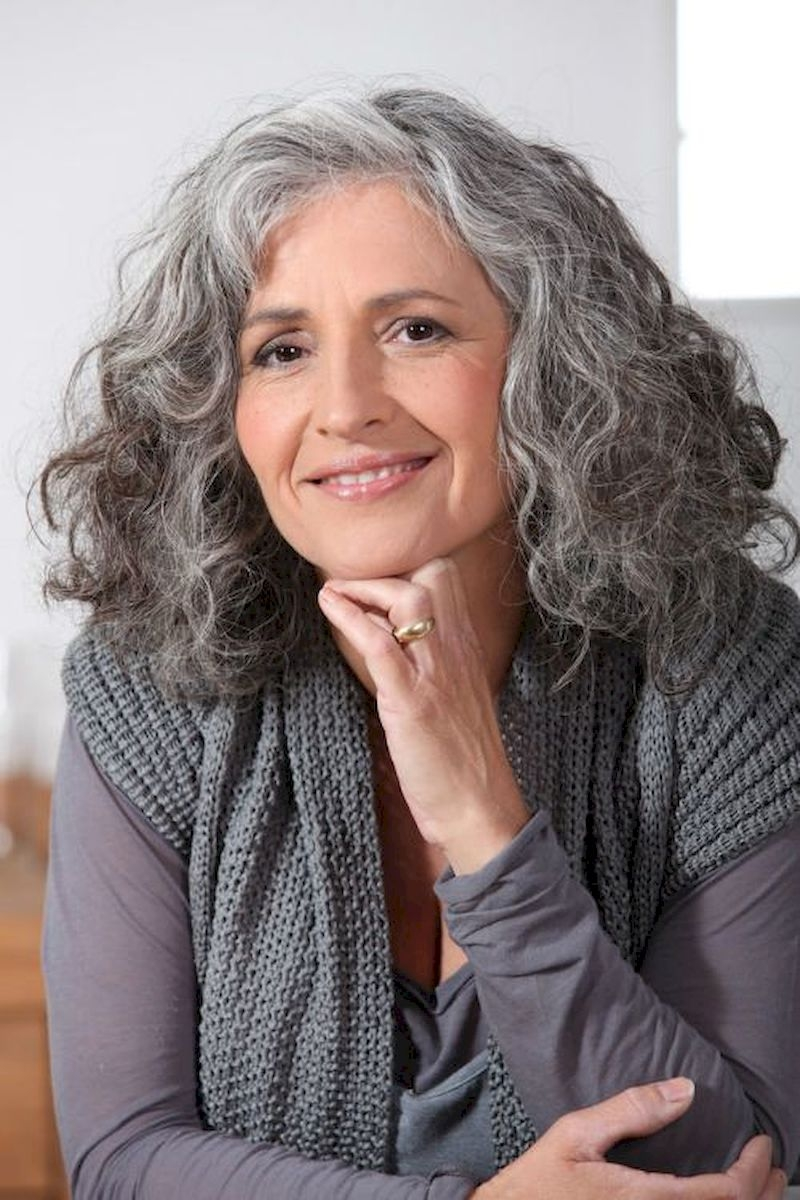 Women over 50 with white hair color