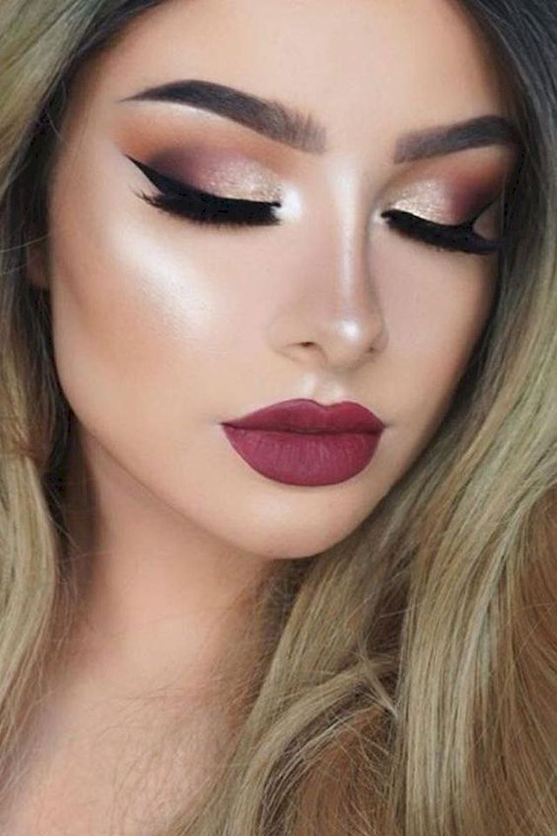 Rose gold makeup with red lipstick